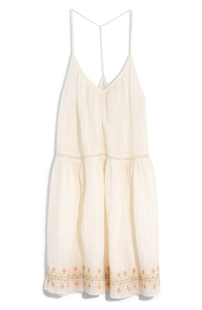 aa94c08f4f Madewell Embroidered Racerback Cover-Up Dress In White Rainbow Stitch
