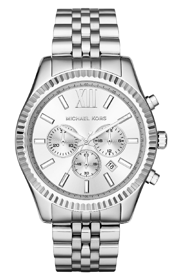 Michael Kors 'Lexington' Chronograph Bracelet Watch, 44Mm In Silver