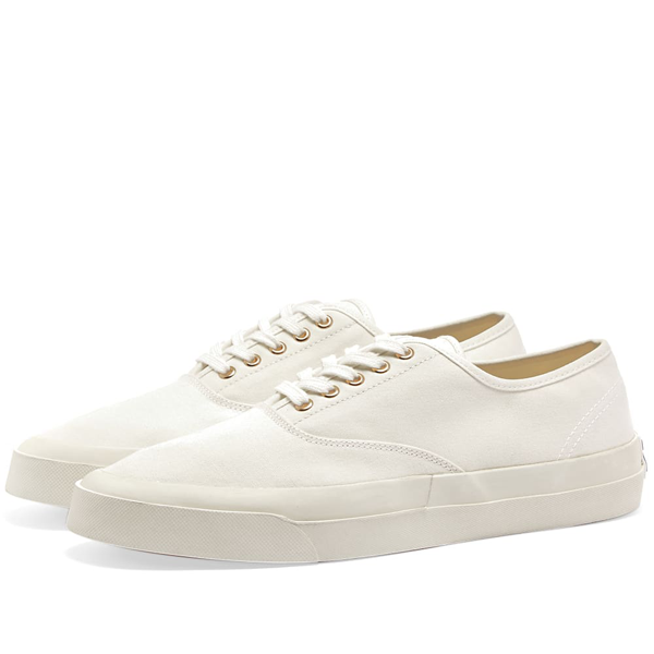 Maison Kitsuné Canvas Laced Sneaker In White