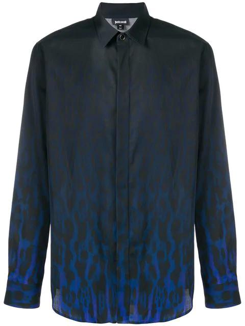 Just Cavalli Hemd Mit Leopardenmuster In Blue