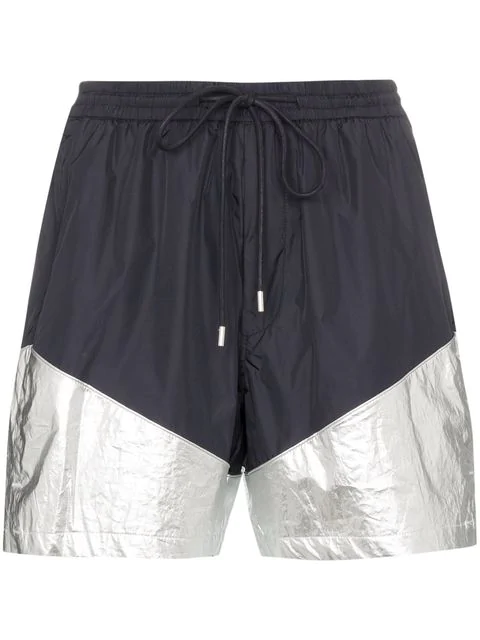 Juun.j Metallic-panel Drawstring Shorts In Blue