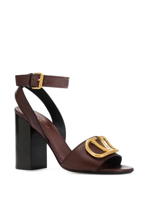 Valentino Garvani Logo Block Heel Sandals - Brown