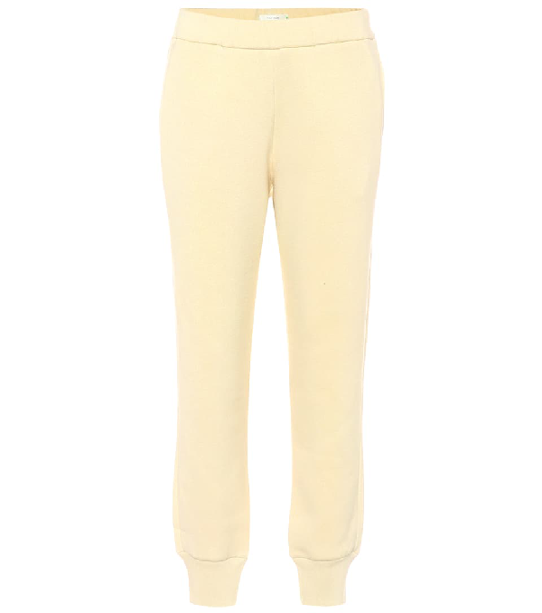 The Row Angeles Brushed Cotton-terry Track Pants In Cream