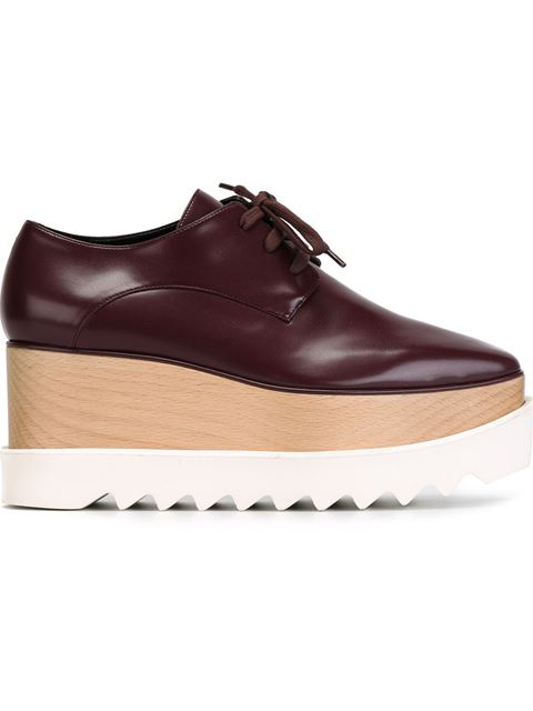 Stella Mccartney Faux Leather Triple Sole Lace-Up Shoes In Burgundy