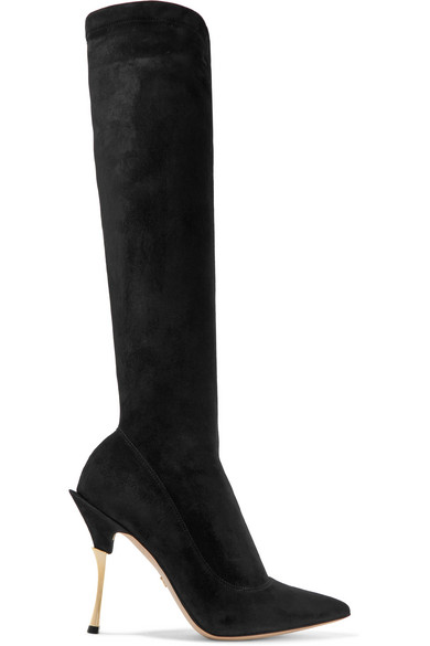Dolce & Gabbana Cardinale Stretch-Suede Knee Boots In Black