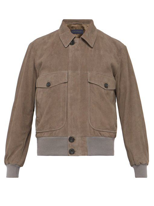 Thom Sweeney Perforated Suede Bomber Jacket In Grey
