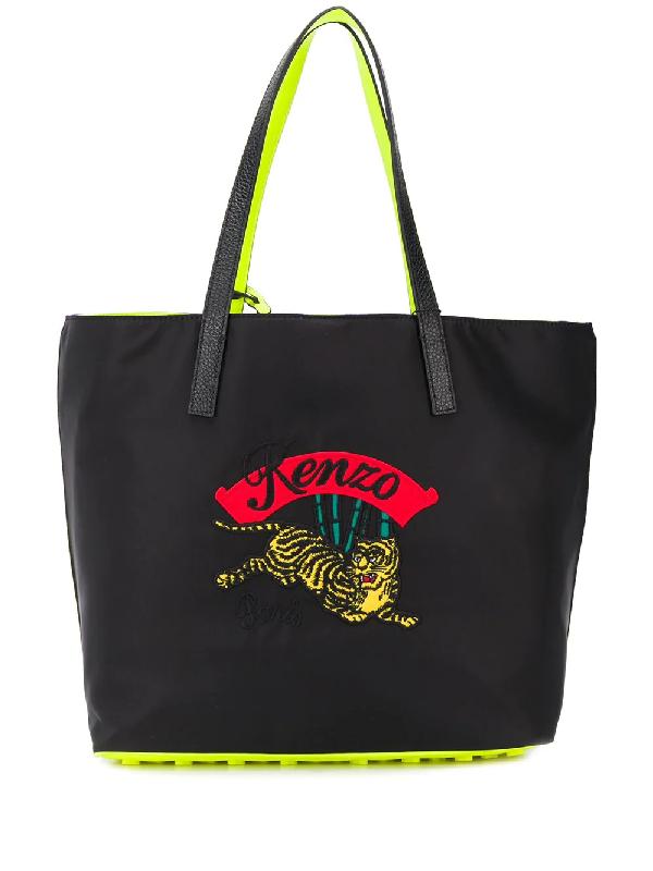 39a5369191 Kenzo | Jumping Tiger Tote Bag In Black Polyamide | ModeSens