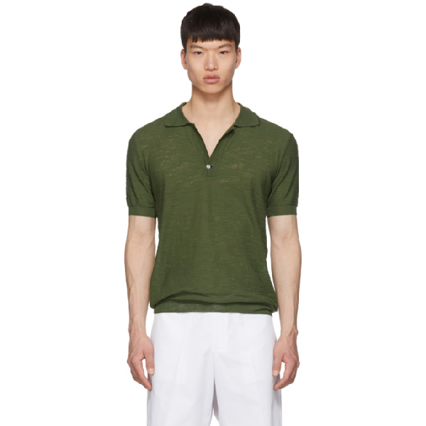 d864358069c392 Jacquemus - Stretch Knit Cotton Blend Polo Shirt - Mens - Dark Green ...