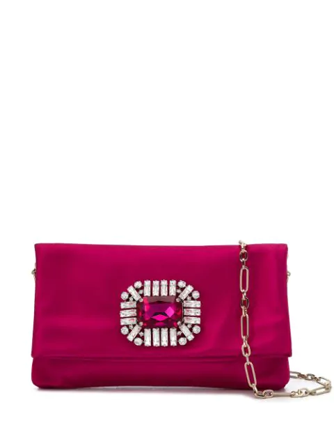 Jimmy Choo Titania Hot Pink Satin Clutch Bag With Jewelled Centre Piece