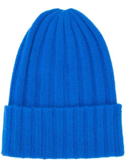 The Elder Statesman Short Bunny Echo Beanie In Blue