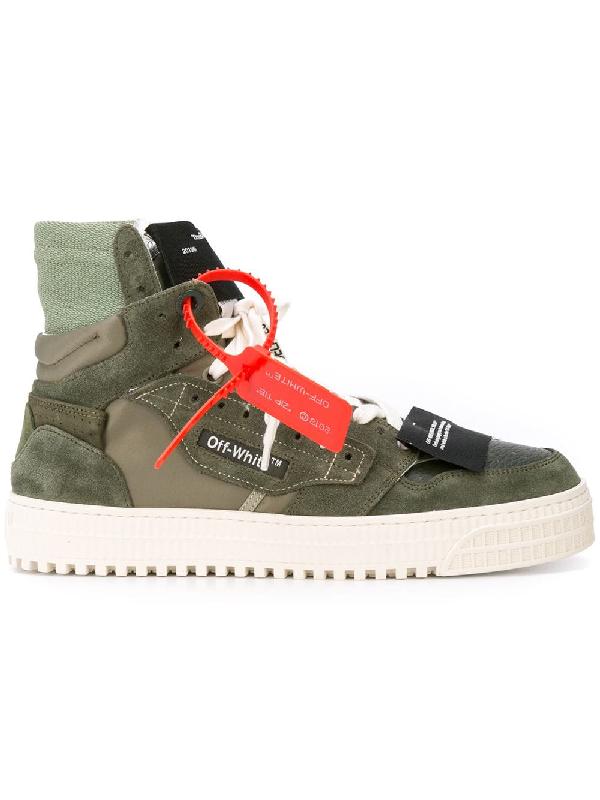 89bcc983 Off-White Off-Court Leather And Suede High-Top Sneakers - Army Green ...