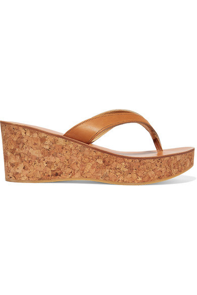 K.Jacques Diorite Leather Wedge Platform Sandals In Tan