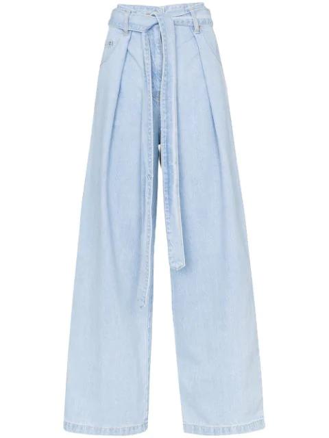 Juun.j Wide Leg Pleated Jeans In Blue
