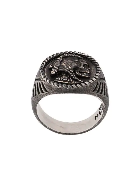 Nove25 Skull Coin Signet Ring In Silver
