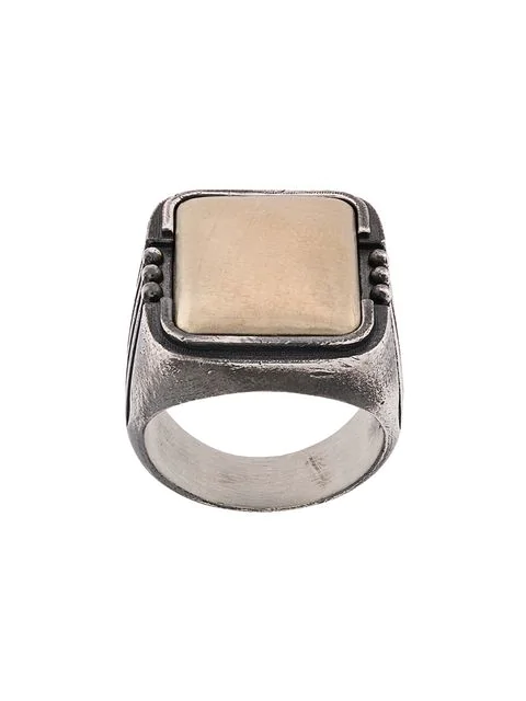 Nove25 Sunrays Signet Ring In Silver