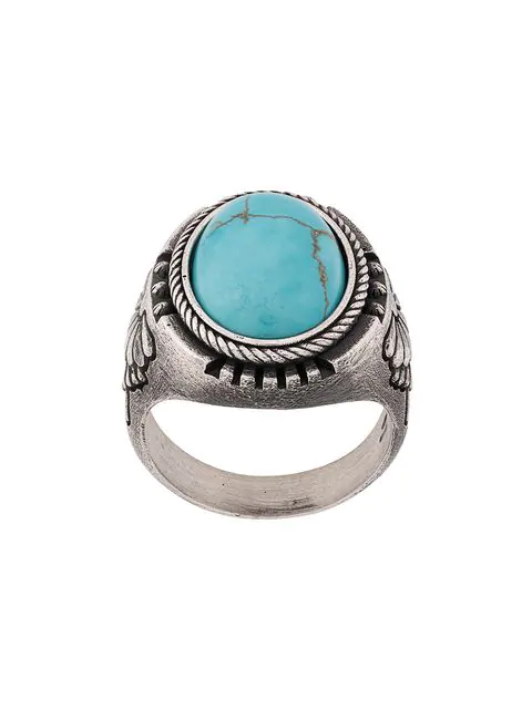 Nove25 Lotus Howlite Signet Ring In Silver