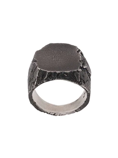 Nove25 Flat Signet Ring In Silver