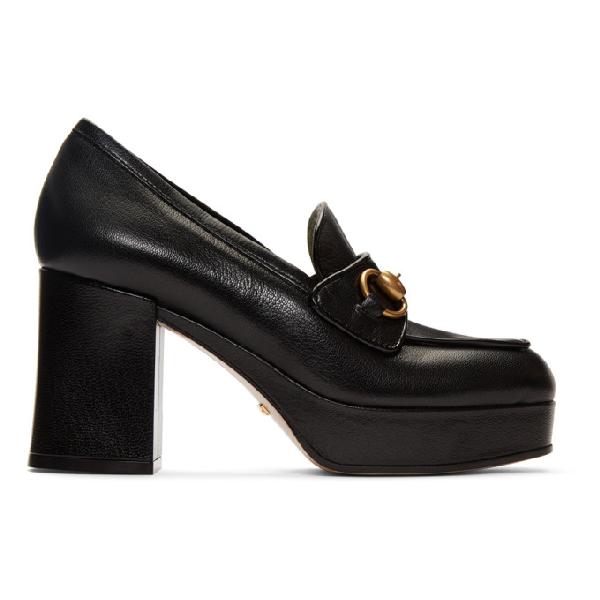 Gucci Horsebit-Detailed Leather Platform Loafers In 1000 Black