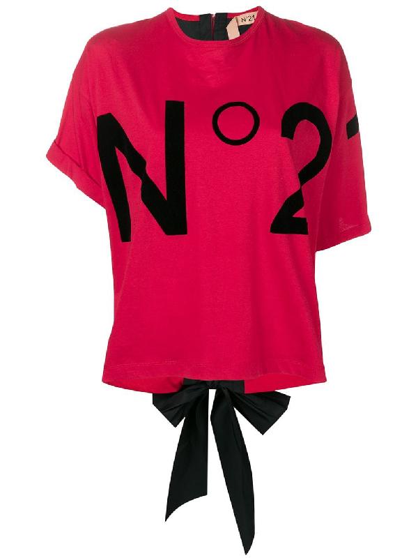 81e2186d N°21 Nº21 Logo Bow Tie T-Shirt - Red | ModeSens