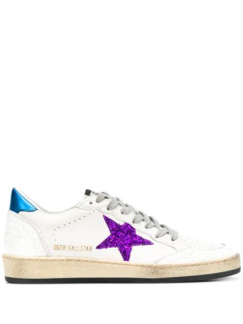 Golden Goose Ballstar Glitter Sneakers In White