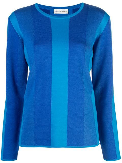 Mansur Gavriel Striped Long-sleeve Sweater In Blue