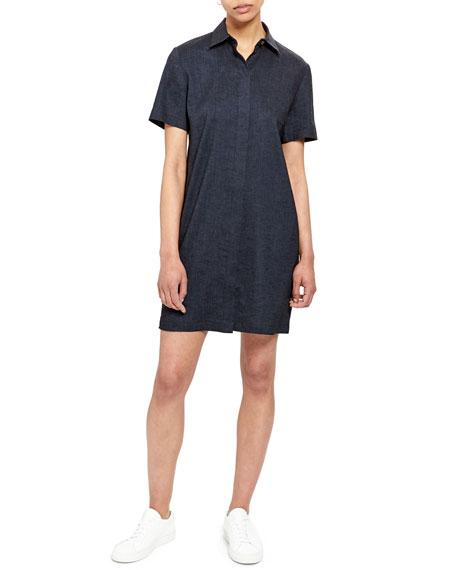 Theory Short Sleeve Linen-Blend Shirtdress In Navy Melange