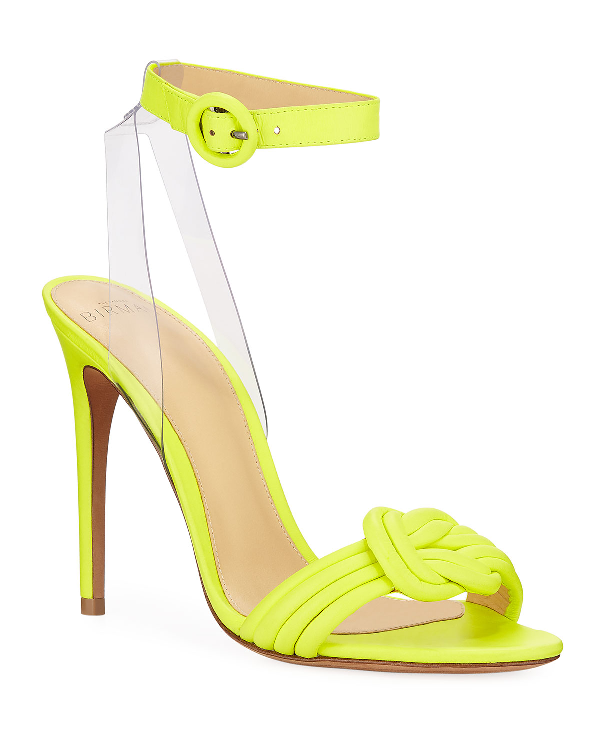 9e8a43aab0e9 Alexandre Birman Vicky Fluorescent Leather Anklet Sandals In Bright Yellow