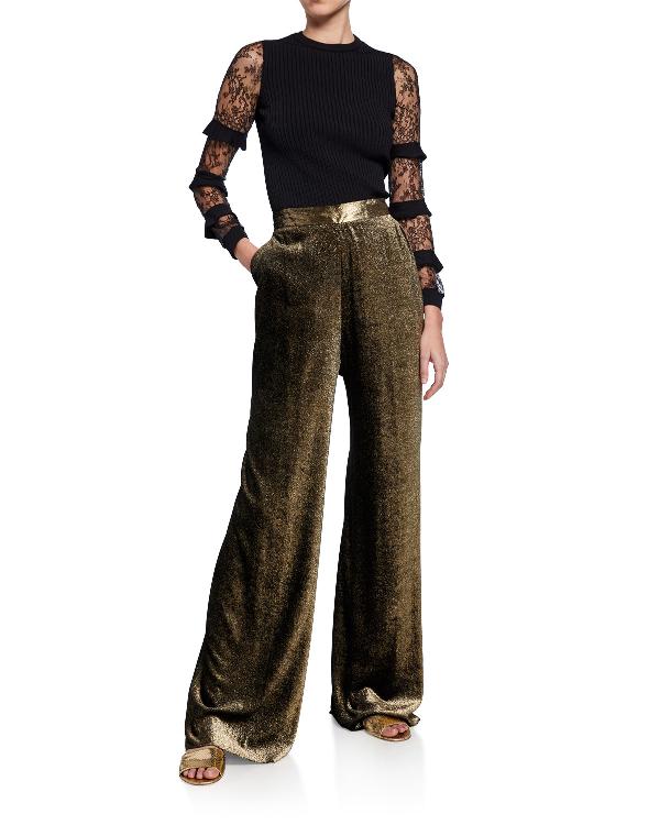 Etro High-waist Wide-leg Flecked Velvet Pants In Cream