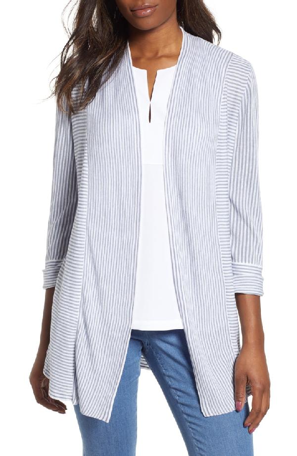 Nic + Zoe Riptide Striped Open-Front Cardigan In Multi