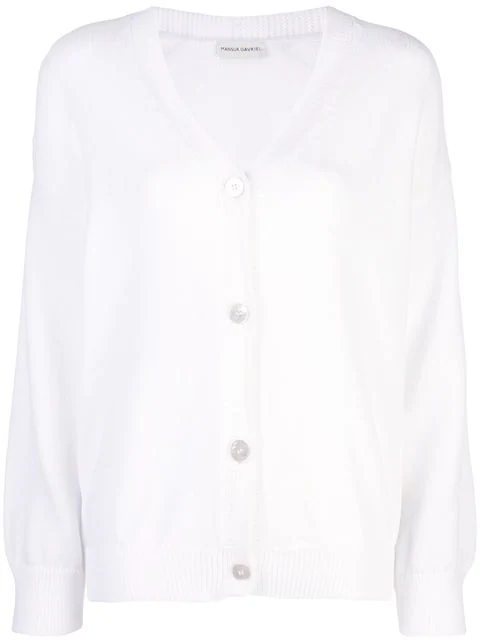 Mansur Gavriel Long-sleeve Fitted Cardigan In White