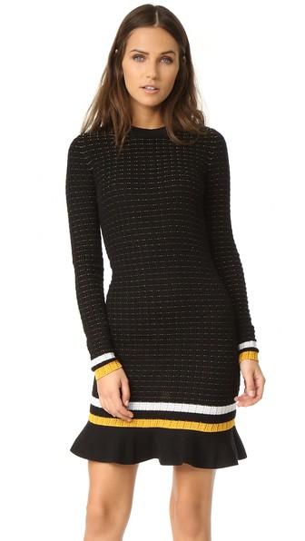 3.1 Phillip Lim Long Sleeve Dress In Black, Stripe, White, Yellow. In ЧЕРНЫЙ