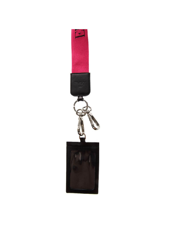 Emporio Armani Keyring And Document Briefcase In Black Leather With Strap In Black/fuchsia