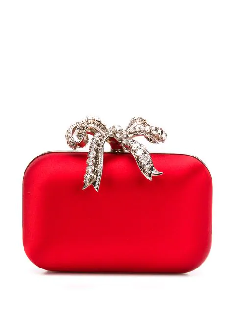 Jimmy Choo Cloud Red Satin Clutch Bag With Crystal Bow Clasp