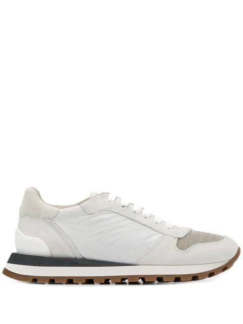 Brunello Cucinelli Panelled Sneakers In White