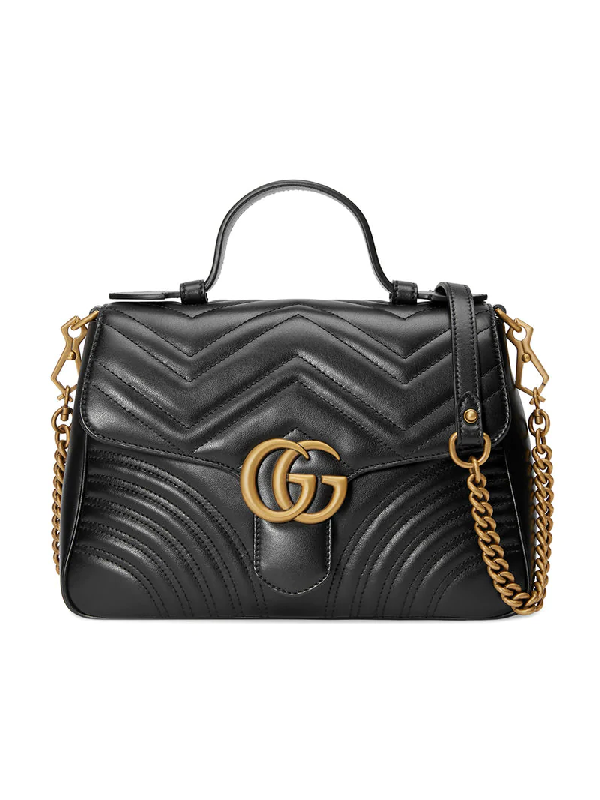 1b9ad845639be3 Gucci Gg Marmont Small Chevron Quilted Top-Handle Bag With Chain Strap In  Black
