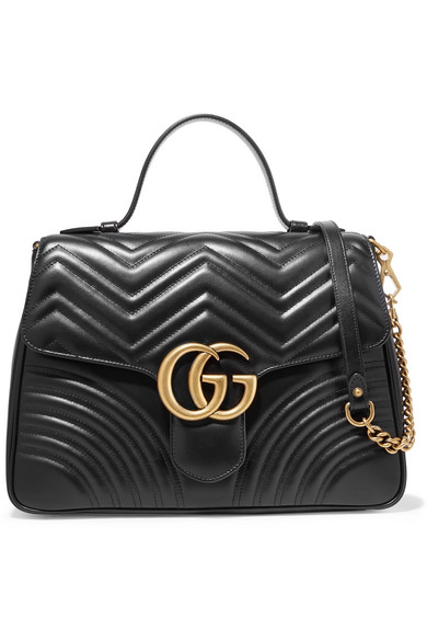 Gucci Gg Marmont Medium Quilted Leather Shoulder Bag In Black