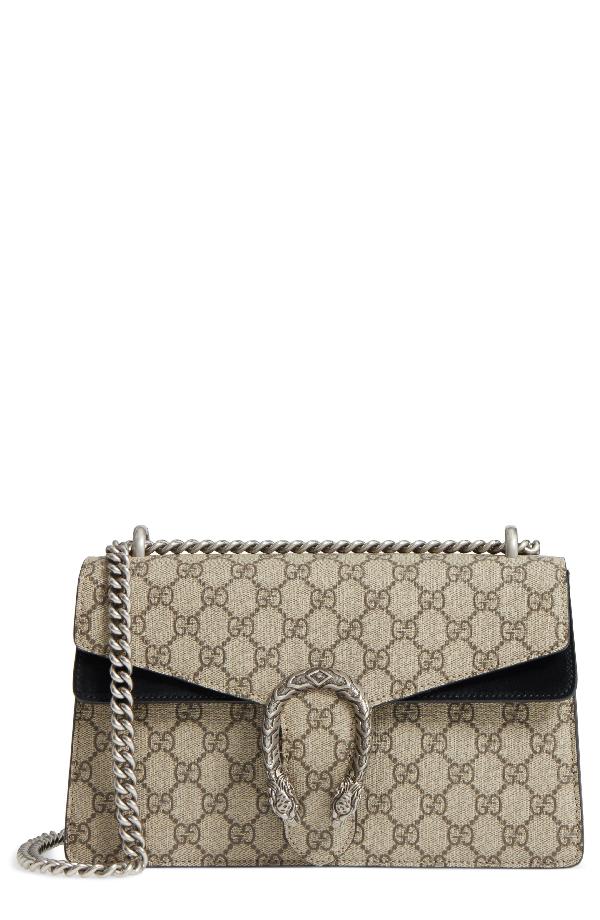 869a4e82e831 Gucci Small Dionysus Gg Supreme Canvas & Suede Shoulder Bag In Beige  Ebony/Nero