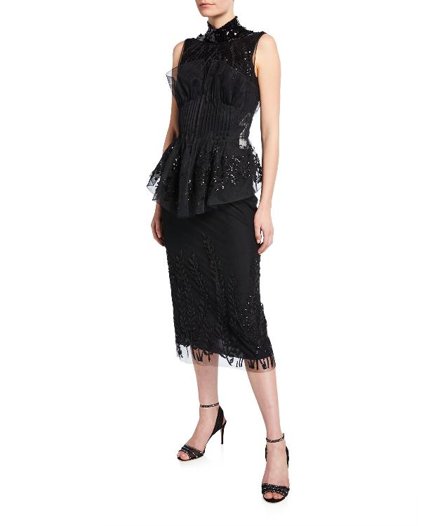 81e9c7780da601 Fendi High-Neck Mini Dress In Black   ModeSens