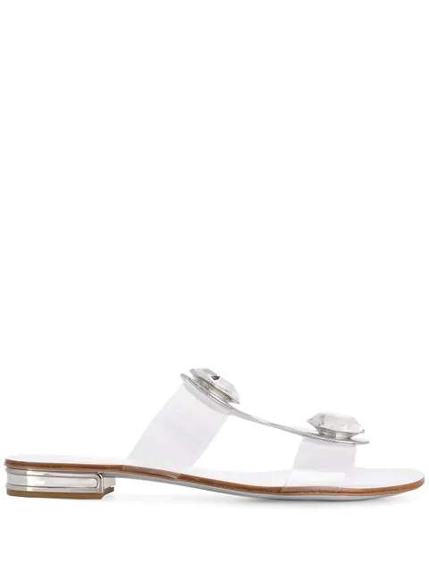 Casadei Crystal Low Sandals In Silver