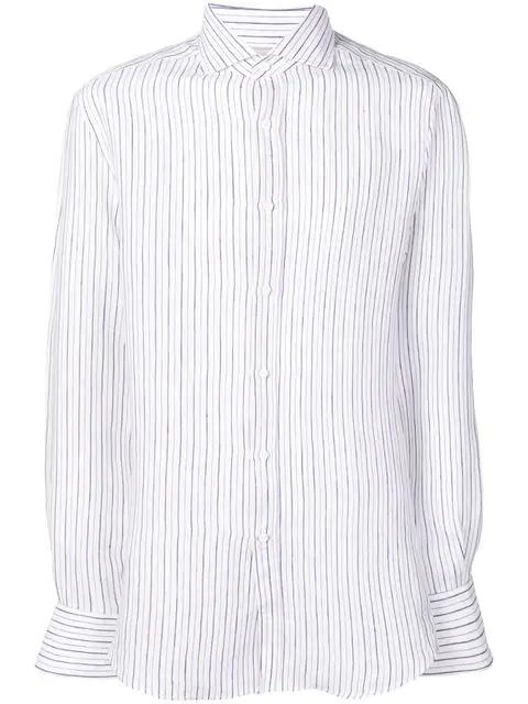 Brunello Cucinelli Striped Spread Collar Shirt In White