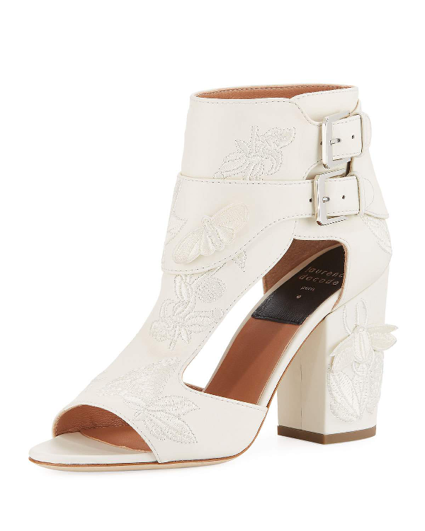 Laurence Dacade Rush Embroidered Leather Sandals In White
