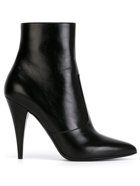 Saint Laurent Leather Point-Toe Ankle Boots In Black