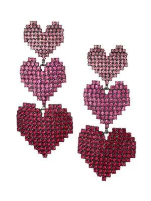 Elizabeth Cole Valentina Heart Ombré Earrings In Pink