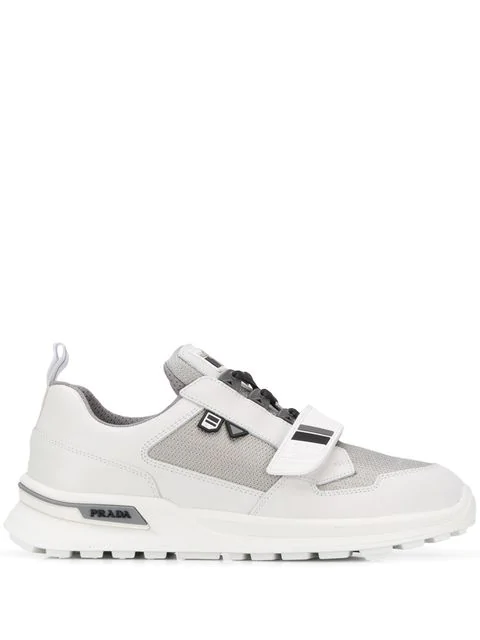 Prada Mechano Techno-fabric And Leather Sneakers In F0j36 Bianco Argento