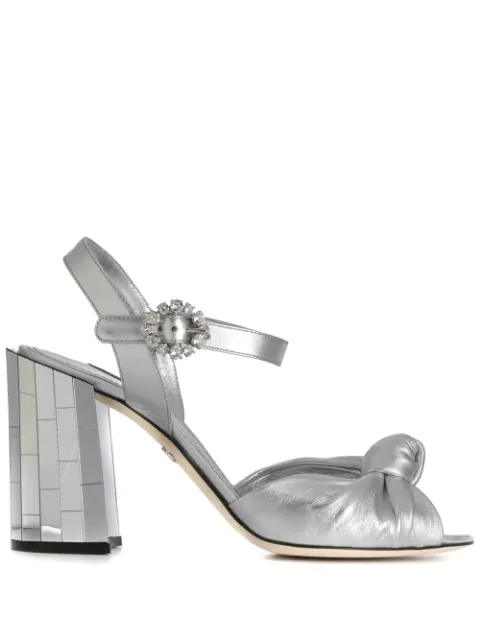 Dolce & Gabbana Keira Embellished Leather And Rubber Sandals In Silver