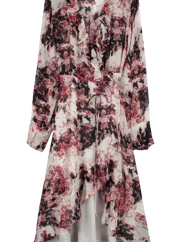 Iro Garden Ruffled Crepe Dress In Red