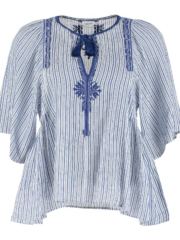 928f832c656657 Etoile Isabel Marant Juditha Striped Cotton Top In White