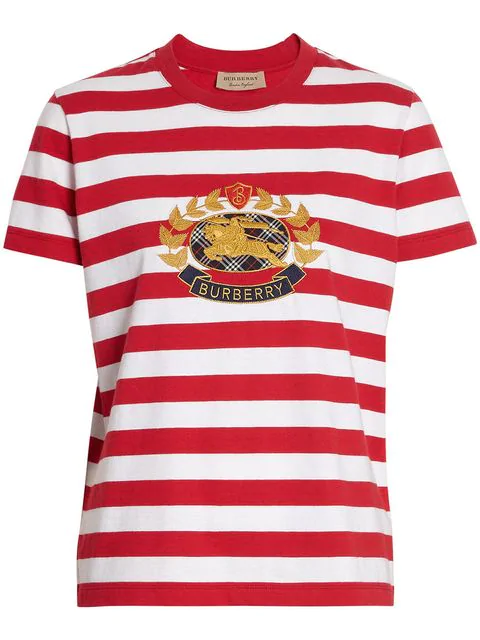 Burberry Embroidered Archive Logo Striped Cotton T-Shirt In Red