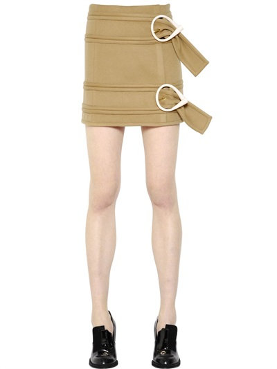J.W.Anderson Belted Light Wool Mini Skirt In Camel