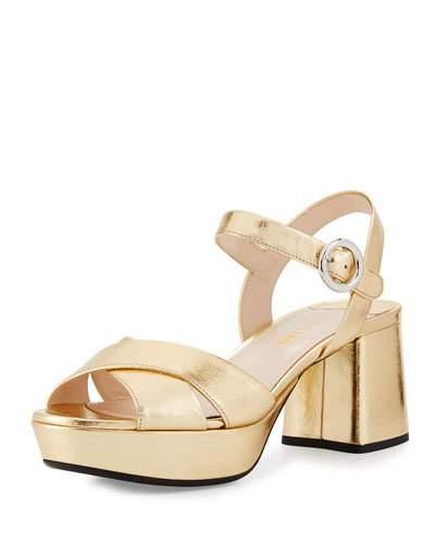 e0b5883cbbf0 Prada Leather Crisscross Ankle-Wrap 65Mm Sandal In Gold